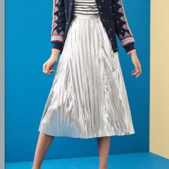 ec7cc19f4e Anthropologie Dresses & Skirts - Anthro Maeve Eclat Midi Metallic Pleated  Skirt